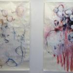 Laurence Demaret, 04, 05, 2020, dessins, brou de noix, encre de chine, pastel, fusain, acrylique sur papier 100 x 179 cm (chaque)